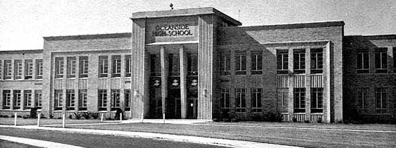 Our own Oceanside High School, on Brower and Skillman Aves., as it was from  1955, when it was built, until its first expansion in 1963, which  unfortunately ...